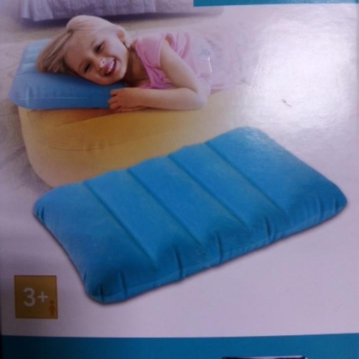 Надувная подушка intex голубая