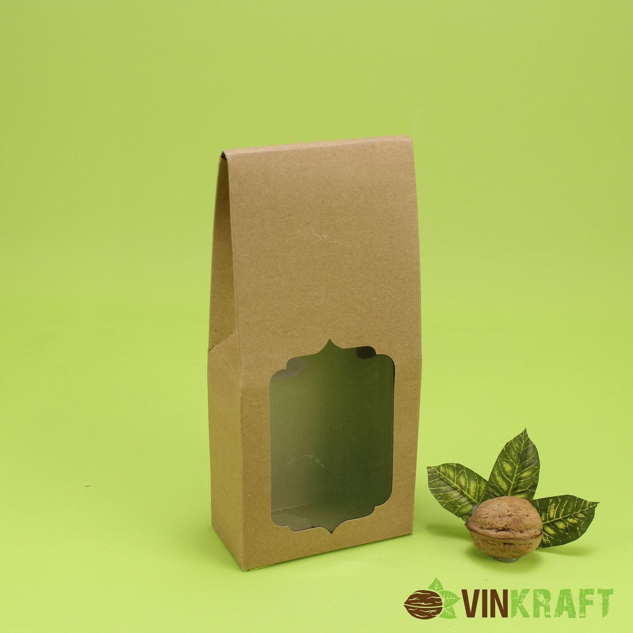 Коробка 90*45*200 для сухофруктів і горіхів з вікном, крафт