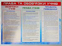 """Школьный плакат """"Права и обязанности учеников"""" на укр.яз."""