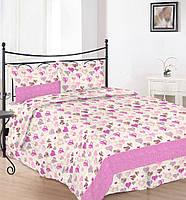 Простынь  на полуторную кровать Вилена бязь Голд Сердечка розовые