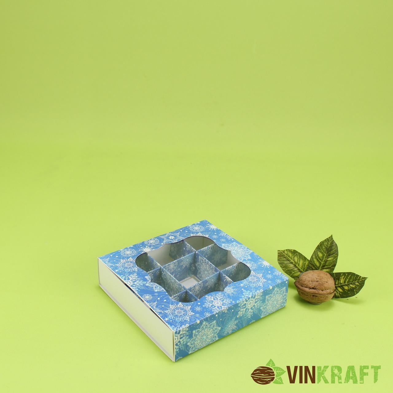 """Коробка 120*120*30 для (9 шт) з вікном """"Сніг"""", синя"""