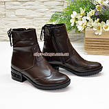 Ботинки женские кожаные демисезонные на маленьком каблуке, сзади на шнурках, фото 3