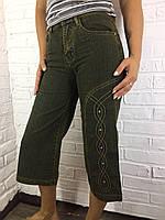 Бриджи женские джинсовые 3118.04 темно-зеленые 25-30