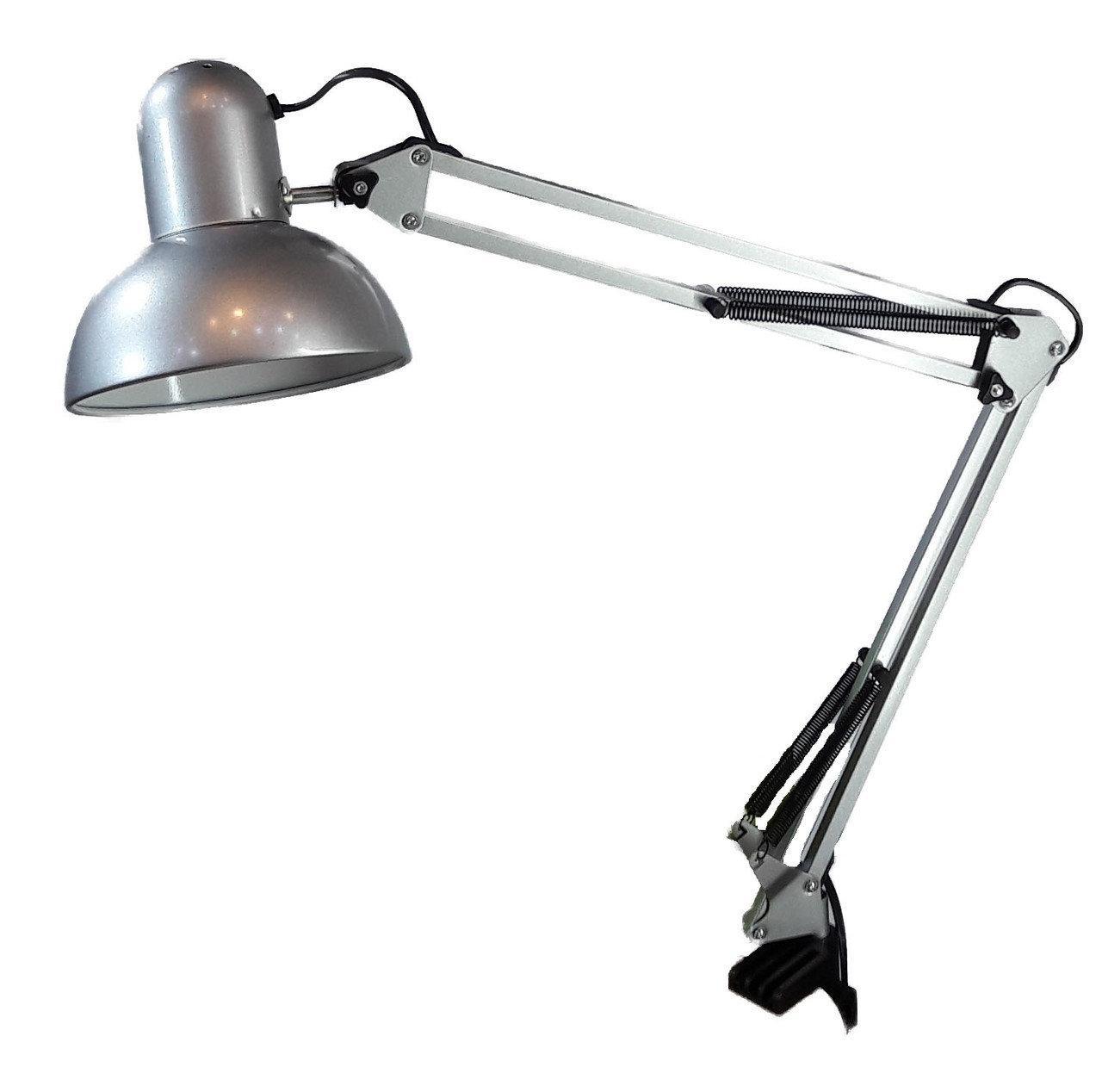 Лампа настільна довга на струбцині 800B срібло