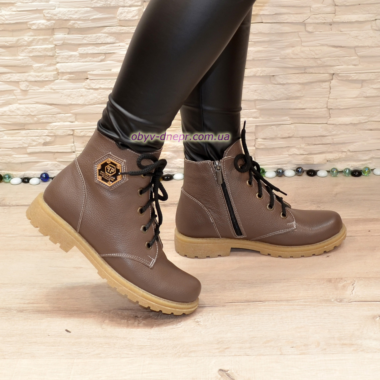 Ботинки женские кожаные    на шнурках, цвет визон