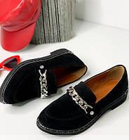 Замшевые женские туфли, черные без каблука 36-41р