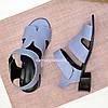 Босоножки женские кожаные, цвет голубой, фото 3
