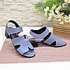 Босоножки женские кожаные, цвет голубой, фото 4