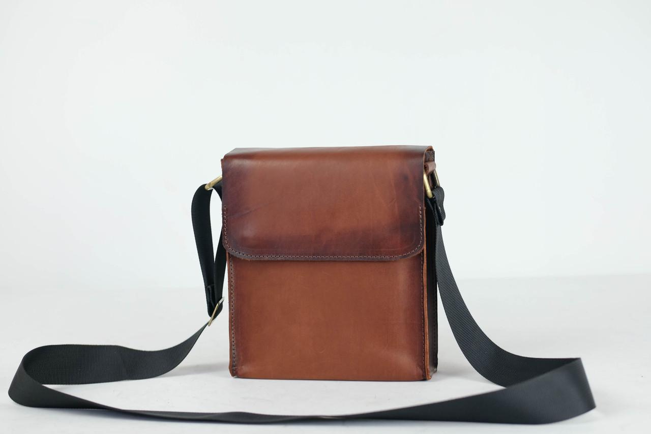 """Чоловіча сумка """"Модель №40"""" Шкіра Італійський краст колір Коричневий"""