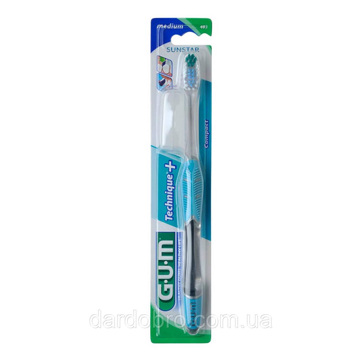 Зубная щетка GUM TECHNIQUE PLUS, компактная средне-мягкая
