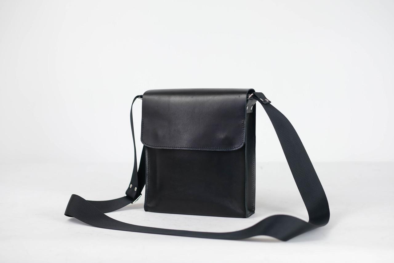 """Мужская сумка """"Модель №40"""" Кожа Итальянский краст цвет Черный"""