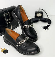 Кожаные женские туфли, черные без каблука 36-41р