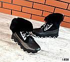 Зимние женские ботинки цвета никель, натуральная кожа, фото 5