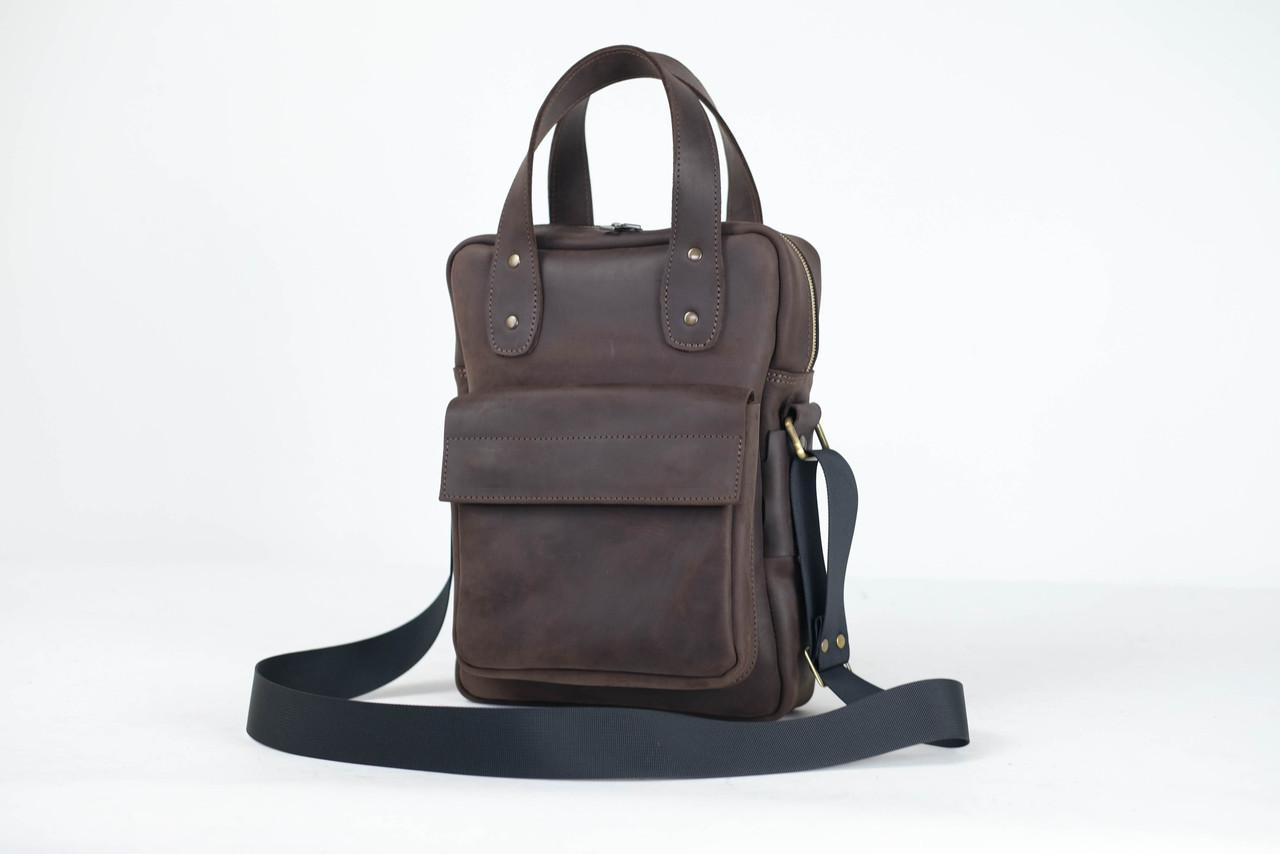 """Чоловіча сумка """"Модель №41"""" Вінтажна шкіра колір Шоколад"""