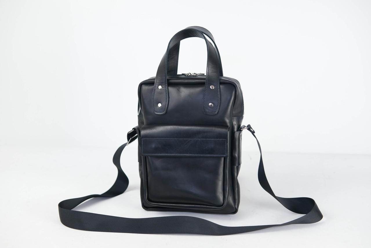 Шкіряна чоловіча сумка Арнольд, натуральна шкіра італійський Краст колір Чорний