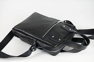 Шкіряна чоловіча сумка Арнольд, натуральна шкіра італійський Краст колір Чорний, фото 2