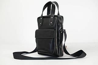 Шкіряна чоловіча сумка Арнольд, натуральна шкіра італійський Краст колір Чорний, фото 3