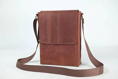 Кожаная мужская сумка Майкл, натуральная Винтажная кожа цвет коричневый, оттенок Коньяк