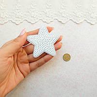 """Термонашивка, аппликация для одежды и декора """"Звезда малая белая"""" -6*6 см"""