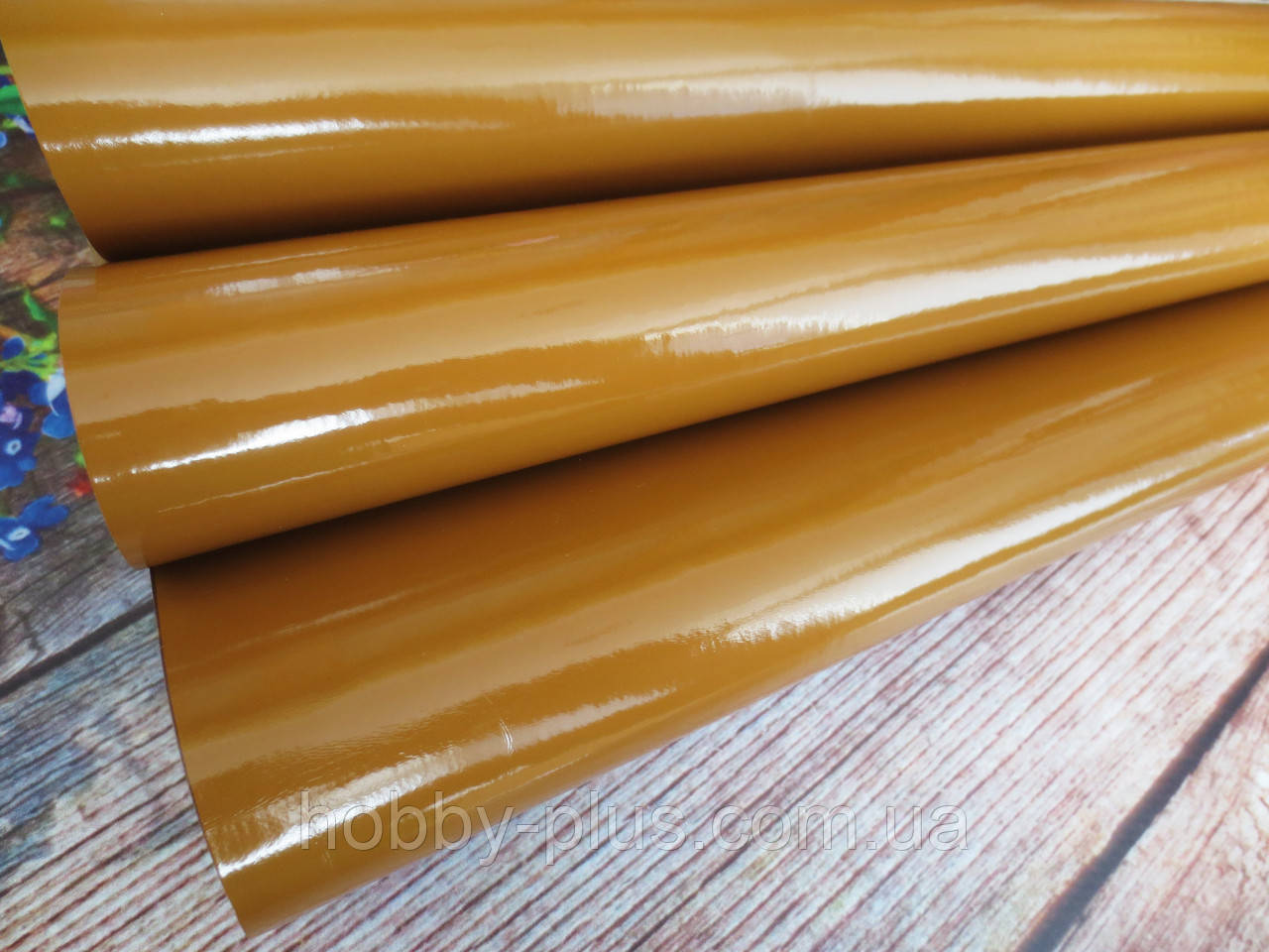 Экокожа (кожзам) лаковая на тканевой основе, СВЕТЛО-КОРИЧНЕВЫЙ, 20х27 см