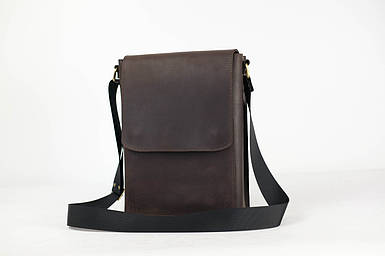 Кожаная мужская сумка Майкл, натуральная Винтажная кожа цвет коричневый, оттенок Шоколад