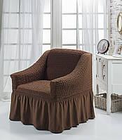 Чехол на кресло с юбкой Коричневый Home Collection Evibu Турция 50116
