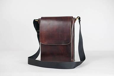 Кожаная мужская сумка Майкл, натуральная кожа итальянский Краст цвет коричневий, відтінок Вишня
