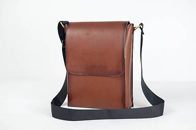 Кожаная мужская сумка Майкл, натуральная кожа итальянский Краст цвет Коричневый