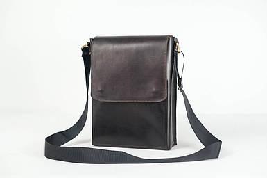 Кожаная мужская сумка Майкл, натуральная кожа итальянский Краст цвет коричневый оттенок Кофе