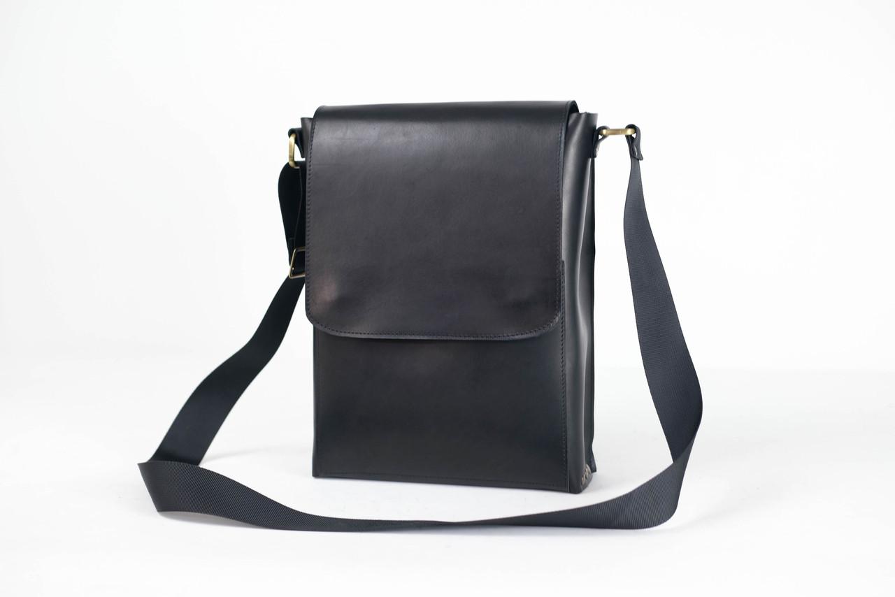 """Чоловіча сумка """"Модель №42"""" Шкіра Італійський краст колір Чорний"""