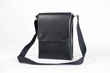 Кожаная мужская сумка Майкл, натуральная кожа итальянский Краст цвет Черный