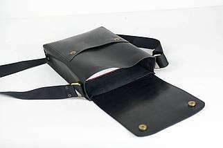 """Чоловіча сумка """"Модель №42"""" Шкіра Італійський краст колір Чорний, фото 3"""