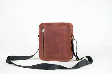 Кожаная мужская сумка Крис, натуральная Винтажная кожа цвет коричневый, оттенок Коньяк