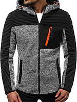 Куртка мужская осенняя J.Style 3003 серая демисезонная с капюшоном