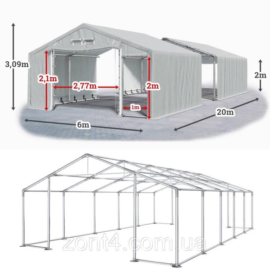 Шатер 6х20 метров ПВХ 600г/м2 с мощным каркасом под склад, гараж, палатка, ангар, намет павильон СТО автомойка