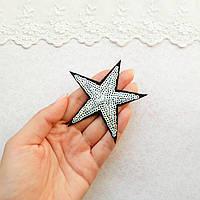 """Термонашивка, аппликация для одежды и декора """"Звезда серебрянная на черном фоне"""" мелкие пайетки -7,5*7,5 см"""