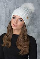 Вязаная шапка женская Муза светло-серая