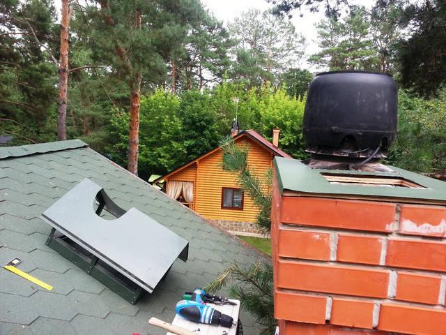 Монтаж вентилятора (естественная и механическая вентиляция) на кирпичный дымоход.