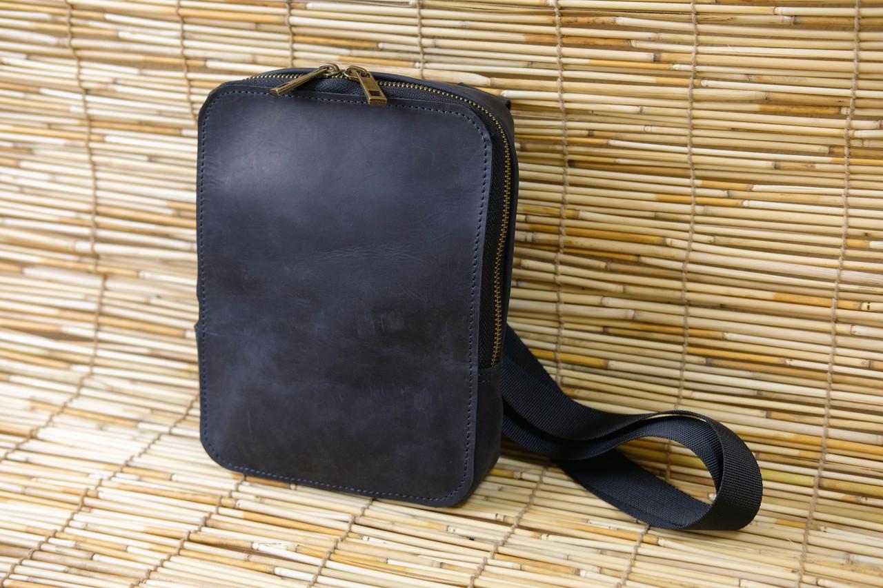 """Мужская сумка """"КМодель №45 XL"""" Винтажная кожа цвет Черный"""
