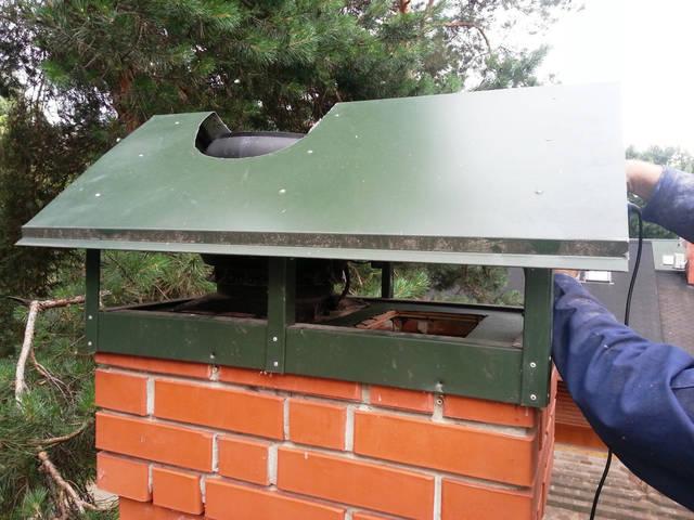 Монтаж гибридного вентилятора на кирпичный дымоход.