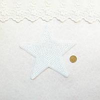 """Термонашивка, аппликация для одежды и декора """"Звезда большая белая"""" -13*13 см"""