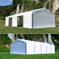 Шатер 8х12 метров ПВХ 560г/м2 с мощным каркасом под склад, гараж, палатка, ангар, намет павильон садовый белый, фото 9