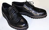 Мужские кожаные туфли броги на высокой подошве. 40р.