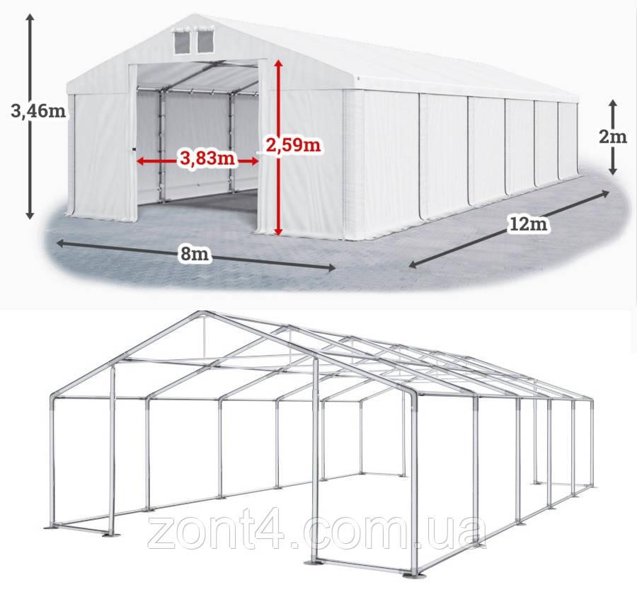 Шатер 8х12 метров ПВХ 560г/м2 с мощным каркасом под склад, гараж, палатка, ангар, намет павильон садовый белый