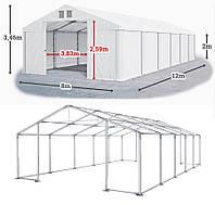 Шатер 8х12 метров ПВХ 560г/м2 с мощным каркасом под склад, гараж, палатка, ангар, намет, павильон садовый