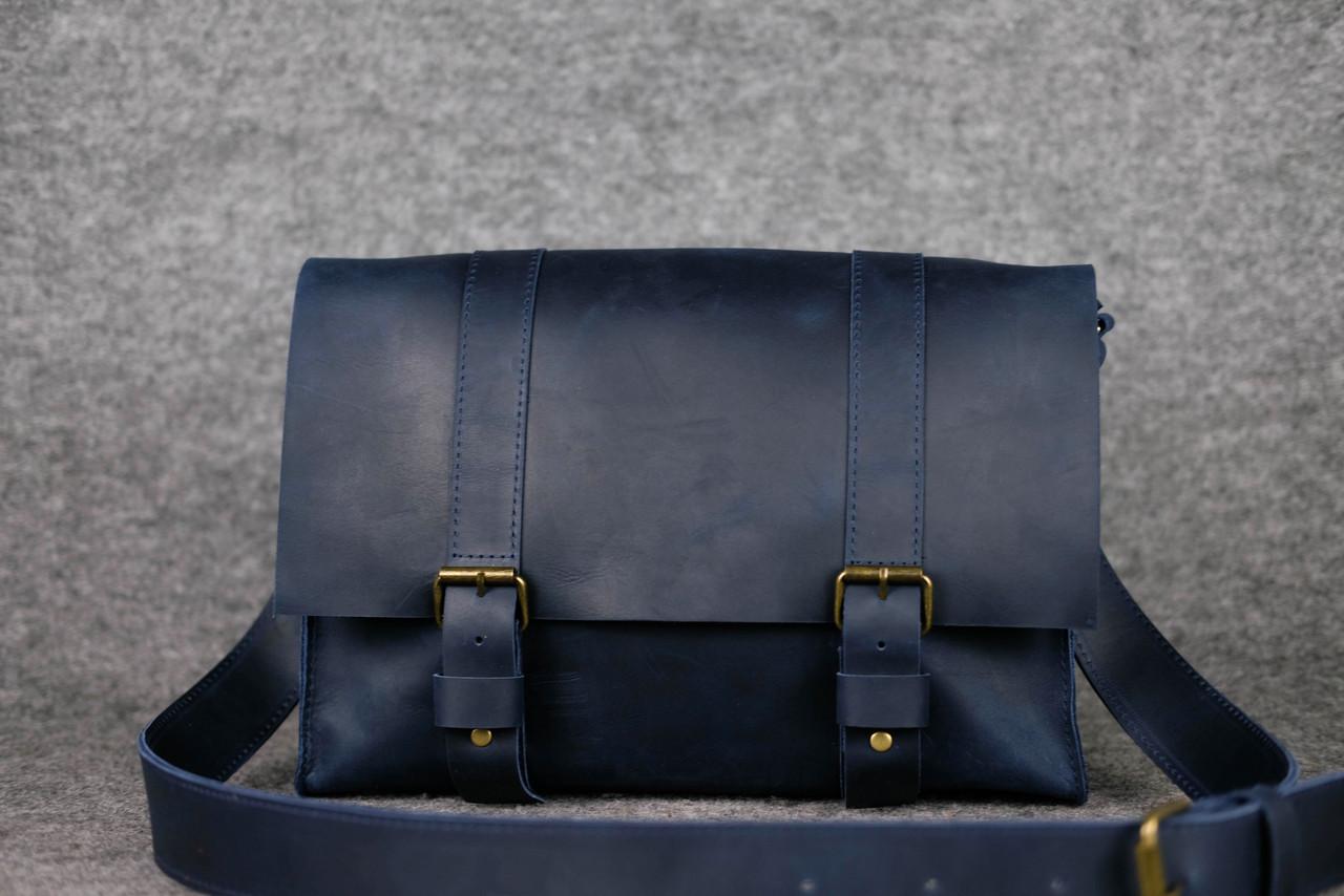 """Мужская сумка """"Модель №47"""" Винтажная кожа цвет Синий"""