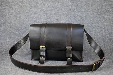 Шкіряна чоловіча сумка Джоерман, натуральна шкіра італійський Краст колір коричневий, відтінок Кава