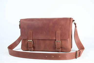 Кожаная мужская сумка Джоерман, натуральная Винтажная кожа цвет коричневый, оттенок Коньяк