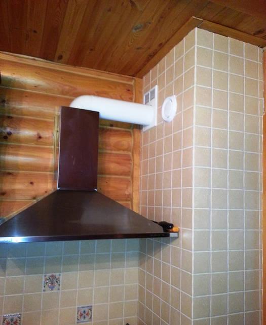 Кухонная вытяжка и клапан забора воздуха в кухне (кухня-перехват).