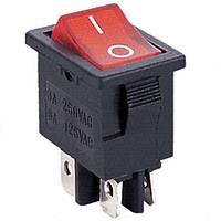 Переключатель с подсветкой KCD-1-104, ON-OFF, 4pin, 6A, 220V / MIRS-201-1A DPST 4P, красный